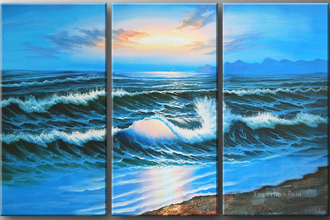 agp129 panel group seascape triptych Oil Paintings