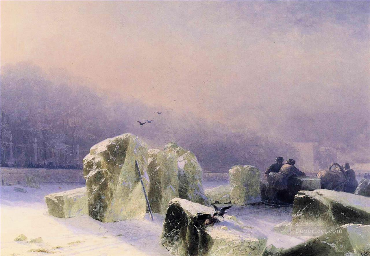 Ivan Aivazovsky ice breakers on the frozen neva in st petersburg Seascape Oil Paintings