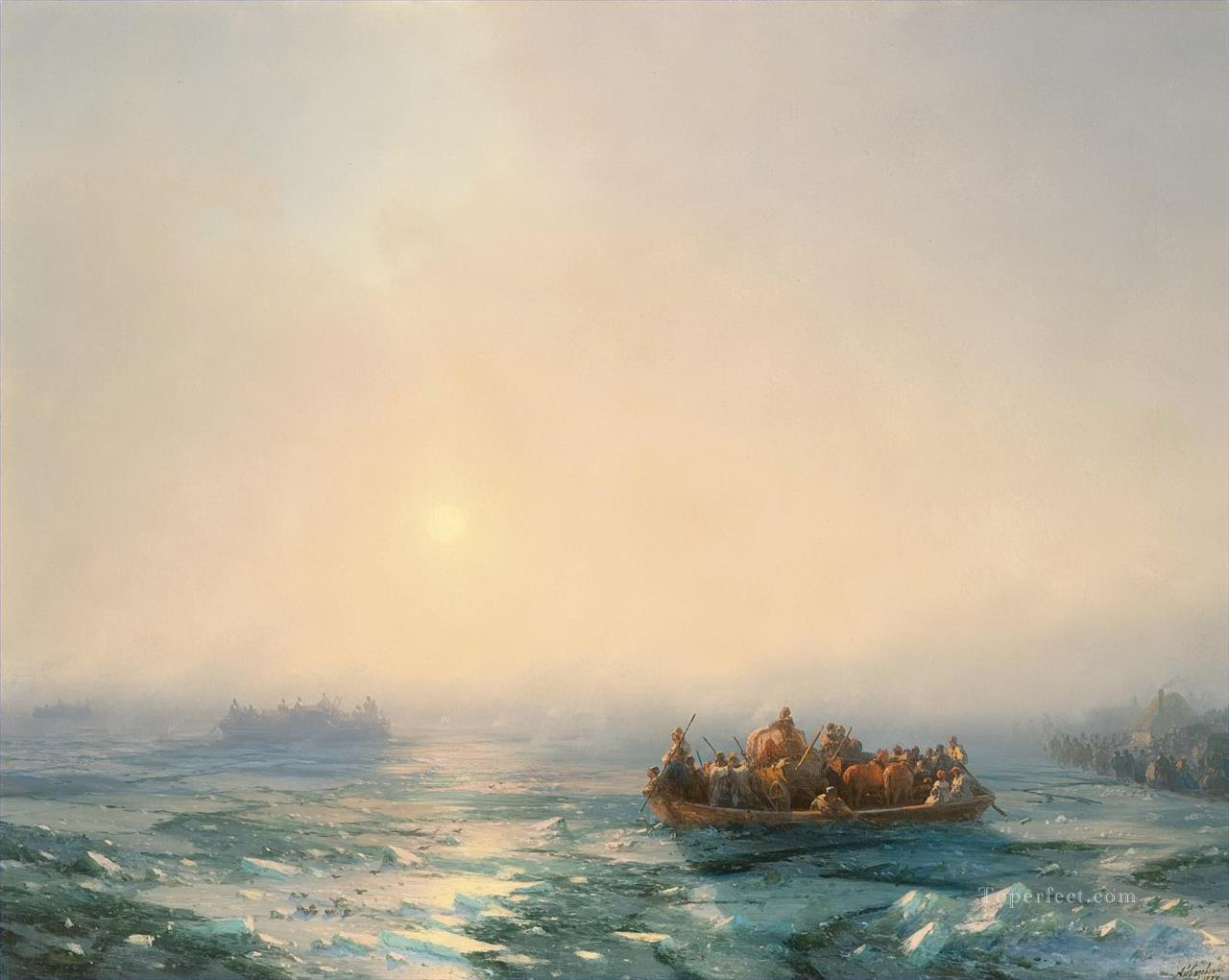 Ivan Aivazovsky ice in the dnepr Seascape Oil Paintings