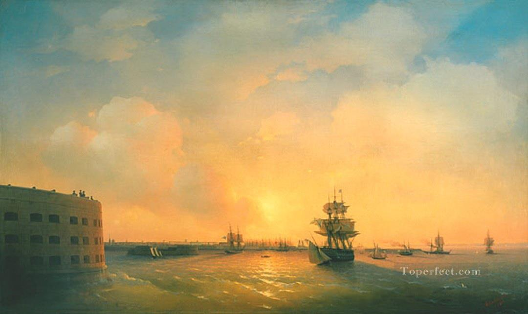 Ivan Aivazovsky kronshtadt fort the emperor alexander Seascape Oil Paintings