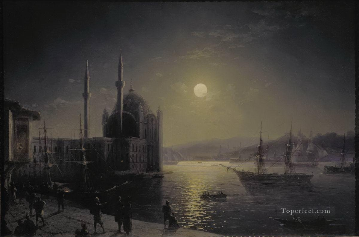 Ivan Aivazovsky moonlit night on the bosphorus Seascape Oil Paintings