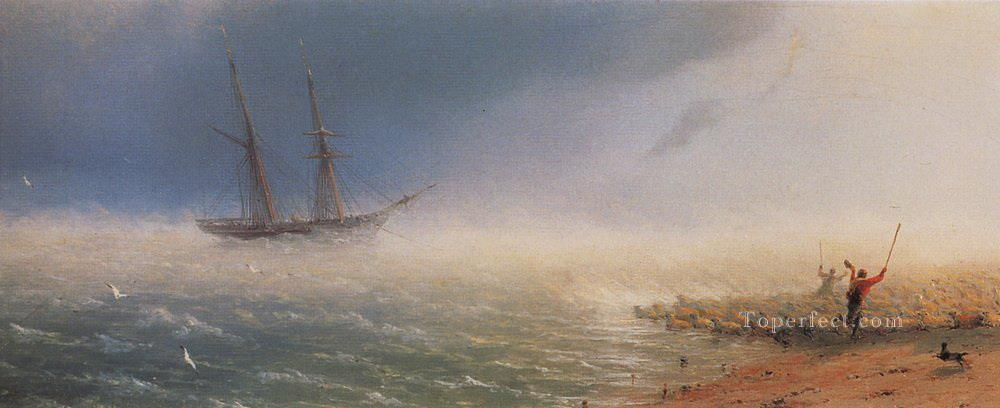 Ivan Aivazovsky sheep which forced by storm to the sea Seascape Oil Paintings
