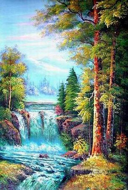 Cheap Vivid Freehand 05 Bob Ross Landscape Oil Paintings