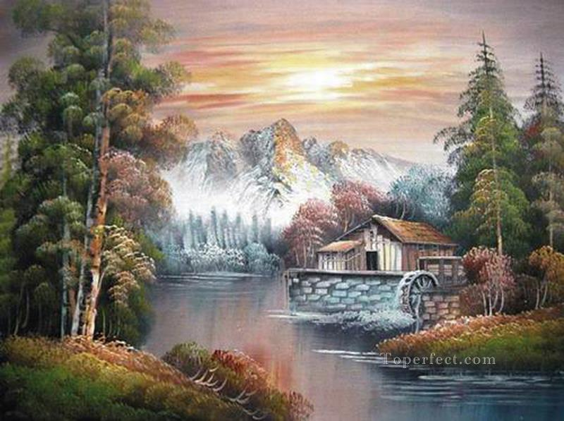 Cheap Vivid Freehand 06 Bob Ross Landscape Oil Paintings