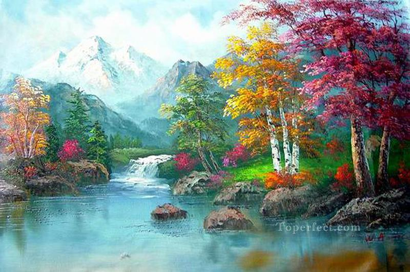 Cheap Vivid Freehand 09 Bob Ross Landscape Oil Paintings