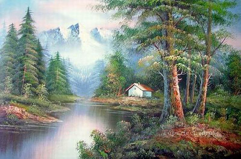 Cheap Vivid Freehand 13 Bob Ross Landscape Oil Paintings