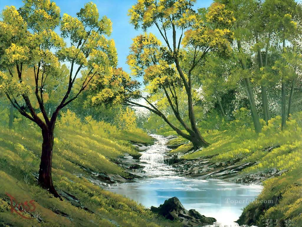 bubbling stream Bob Ross freehand landscapes Oil Paintings