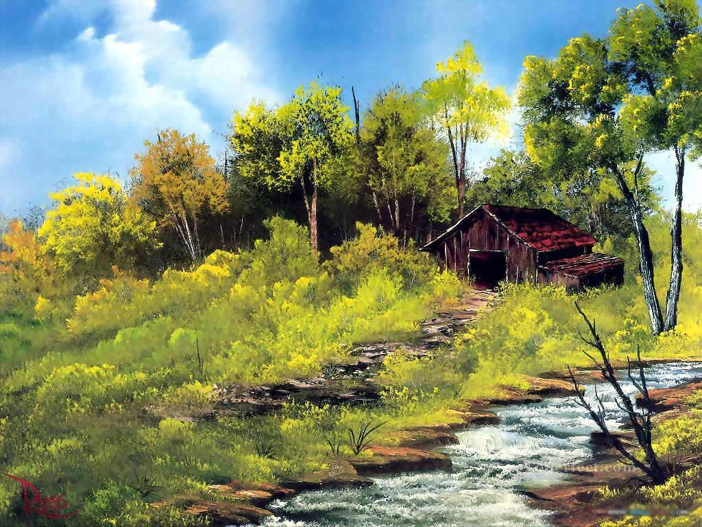 meadow stream Bob Ross freehand landscapes Oil Paintings