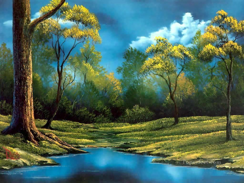 twilight meadow Bob Ross freehand landscapes Oil Paintings