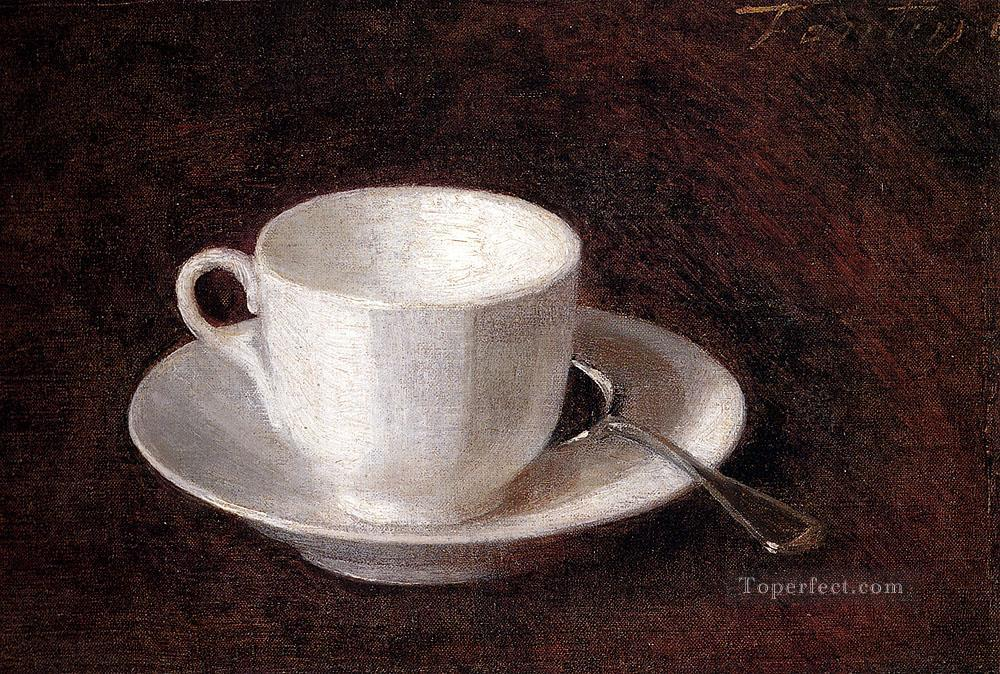 White Cup And Saucer Henri Fantin Latour still life Oil Paintings
