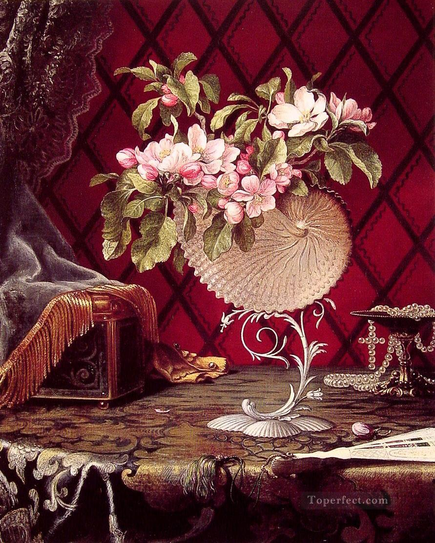 Still Life with Apple Blossoms in a Nautilus Shell flower Martin Johnson Heade Oil Paintings