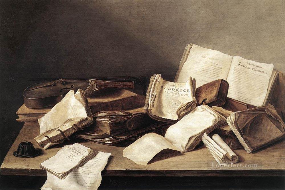 Still Life Of Books 1628 Dutch Jan Davidsz de Heem Oil Paintings