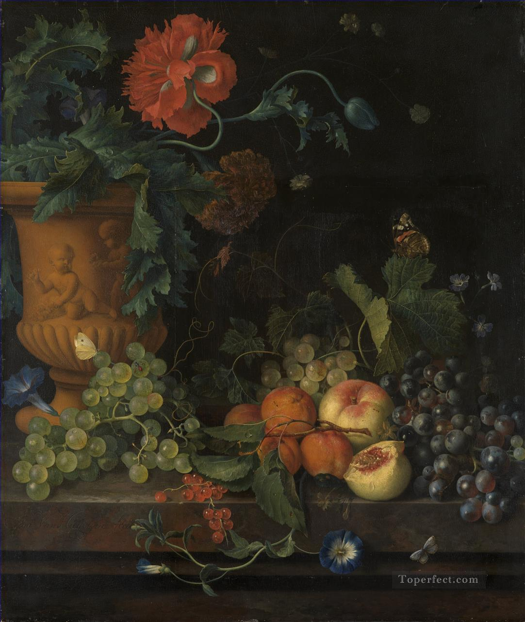Terracotta Vase with Flowers and Fruits Jan van Huysum Classic Still life Oil Paintings