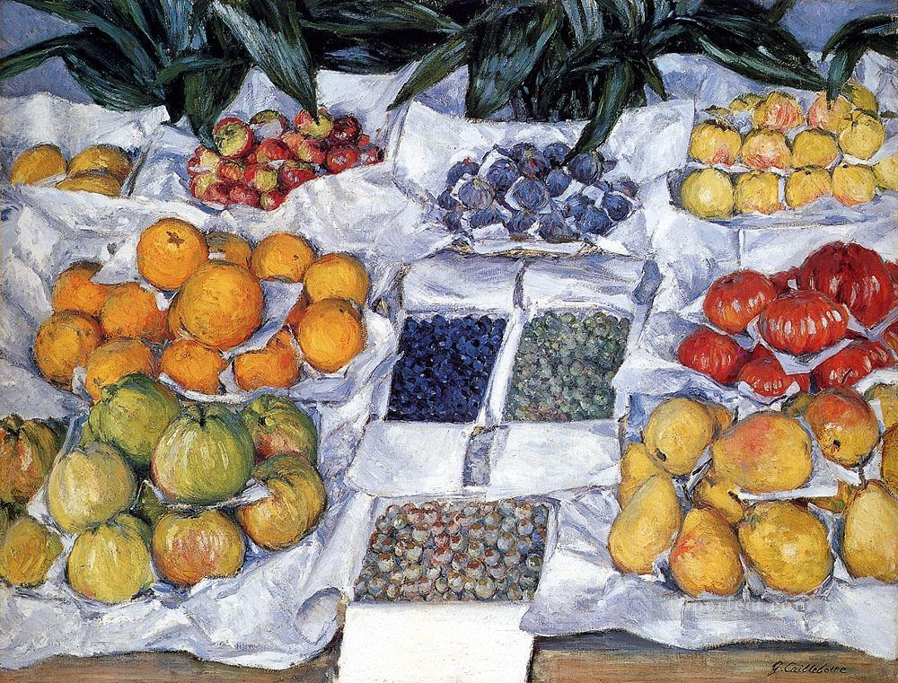 Fruit Displayed On A Stand Impressionists Gustave Caillebotte still lifes Oil Paintings