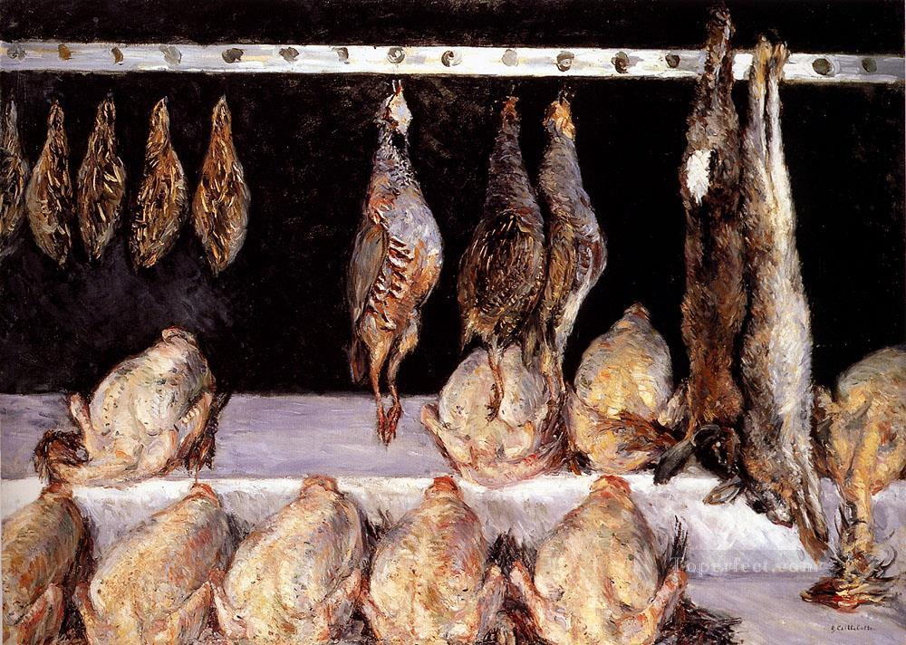 Display Of Chickens And Game Birds Impressionists Gustave Caillebotte still lifes Oil Paintings