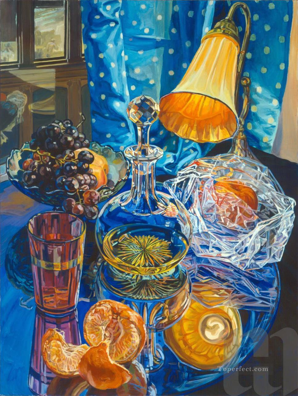 orange lamp and oranges JF realism still life Oil Paintings