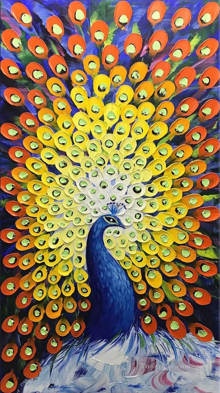 peacock in blue textured Oil Paintings