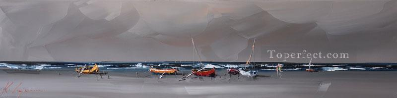 boats in peace KG textured Oil Paintings