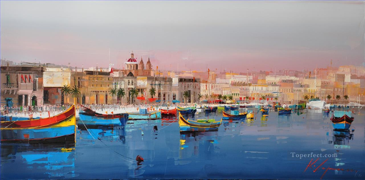 Marsaxlokk Malta KG textured Oil Paintings