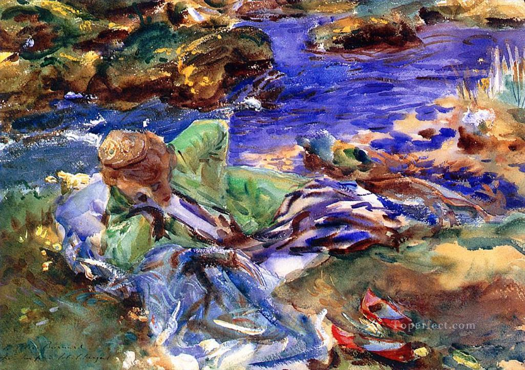 Woman in a Turkish Costume A Turkish Woman by a Stream John Singer Sargent watercolor Oil Paintings