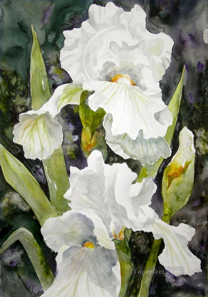 white flower watercolor Painting in Oil for Sale