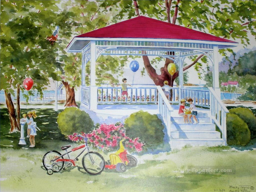 kids in park watercolor Oil Paintings