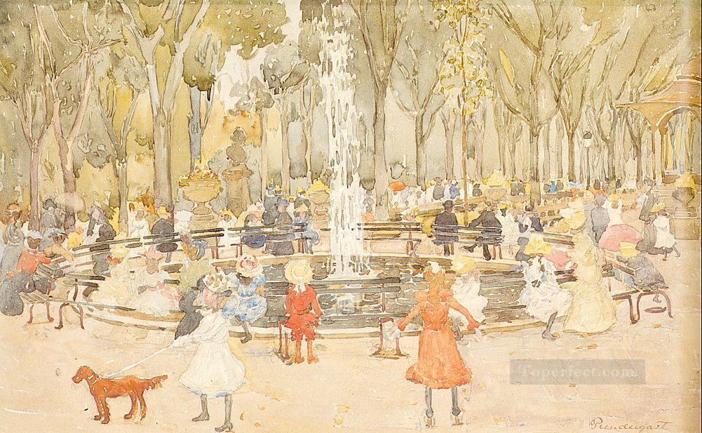 In Central Park New York Maurice Prendergast watercolour Oil Paintings