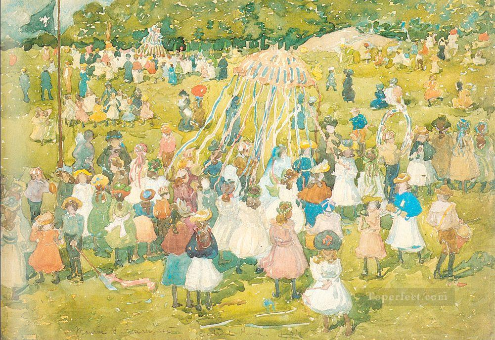 May Day Central Park Maurice Prendergast watercolor Oil Paintings